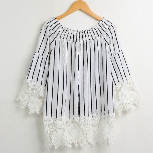Sexy Frauen Striped Lace Sleeve Bluse aus dem Schulterhemd Slash Neck Lässige Frauen Top White