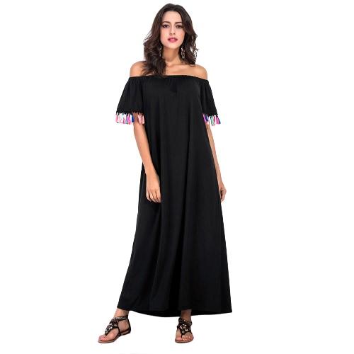 Frauen aus Schulter langes Strandkleid Boho Quaste kurzes Hülsen-Schrägstrich-Ansatz lose beiläufiges Kleid-Schwarzes
