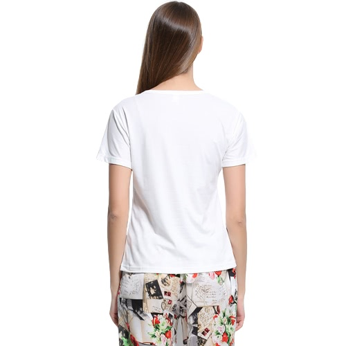 New Summer Women T-Shirt Floral Letter Print O-Neck Short Sleeve Casual Tee Tops White