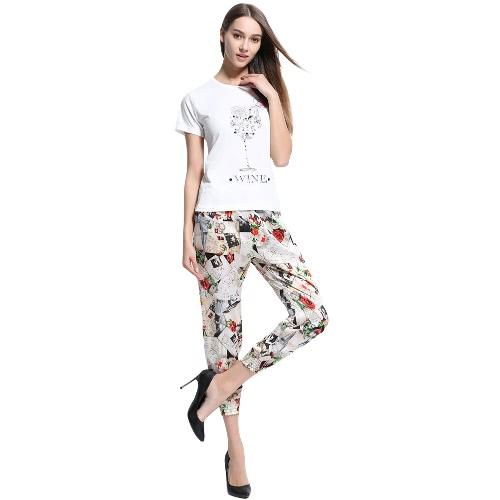 Mulheres New Verão T-shirt Carta Floral Imprimir O-Neck manga curta Tee Casual Tops Branco