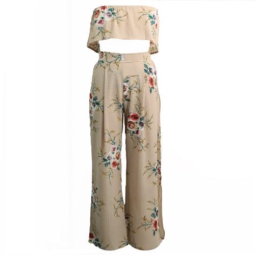 Frauen Chiffon Zweiteiler Strapless Crop Tops Hose mit weitem Bein Blumendruck mit hoher Taille spilit Strand Boho Suits