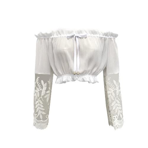 T-shirt Mulheres New Verão Chiffon Lace Corte do pescoço longo da luva Casual Tops Branco / Azul Claro