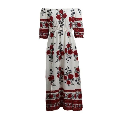 Новые женщины Sexy цветочные печати платье с плеча Половина рукава Упругие талии Split Хем пляж платье белый