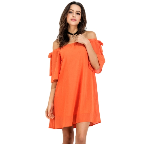 Sexy Women Mini Dress Solid Off Shoulder Backless Bow Half Sleeves Elegante Loose Casual Pullover Party Dress Orange