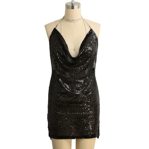 Nuevo atractivo de las mujeres mini vestido de lentejuelas de inmersión V cuello halter Gargantilla sin respaldo del partido del vestido sin mangas de Bodycon Clubwear