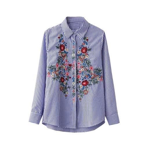 New Fashion Mulheres Floral Blusa bordado mangas compridas abotoado Stripe camisa azul