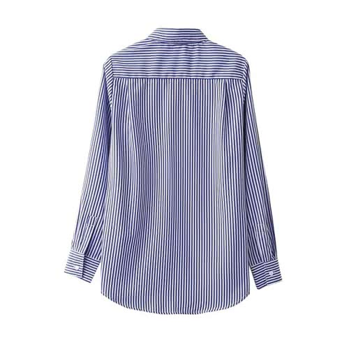 New Fashion Women Floral Embroidered Blouse Long Sleeves Buttoned Stripe Shirt Blue