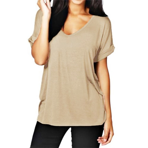 Korean Fashion Women Summer Basic T-shirt V Neck Short Sleeve Solid Color Casual Loose Plus Size Top Tee