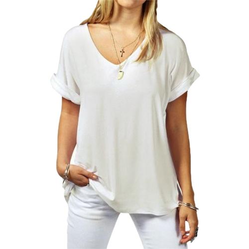 Moda Verano V cuello manga corta casual suelto más tamaño camiseta básica