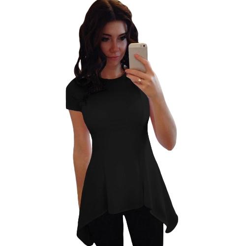 Moda Mulheres Irregular Peplum Hem O-Neck Short Sleeve Slim Causal T-Shirt