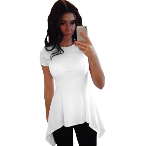 Moda Mujer irregular peplum Hem O-cuello manga corta Camiseta Causal delgada