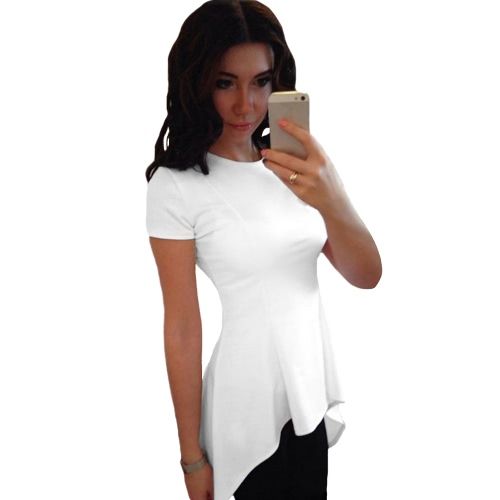 New Sexy Women T-Shirt Blouse Irregular Peplum Hem O-Neck Short Sleeve Solid Slim Causal Top Black/White/Yellow