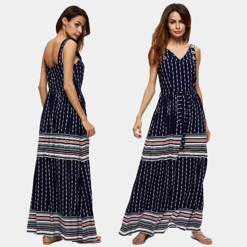 Spiaggia delle donne dell'annata dalla banda stampa geometrica collo maniche elastico in vita V Maxi lungo abito blu scuro Boho