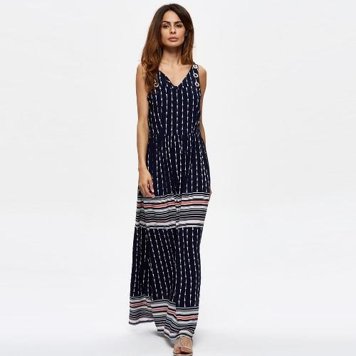 Mujeres de la playa de la vendimia vestido de la raya estampado geométrico V sin mangas de cuello elástico de la cintura del vestido largo maxi de Boho azul oscuro