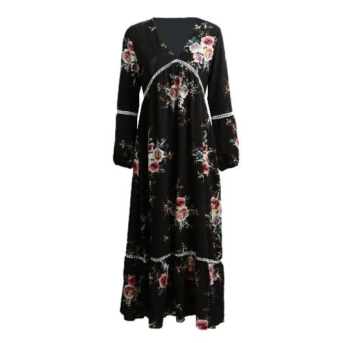 Manera de las mujeres de Bohemia vestido floral retro Imprimir zambullida V del cuello del verano maxi largo del vestido Negro