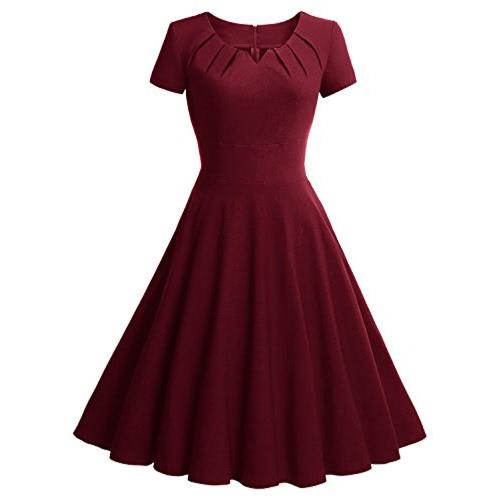 Frauen-Weinlese-Kleid Sommer-elegante kurzer Ärmel der 1950er Jahre Rockabilly Partei Swing-Kleid Burgund / Grün