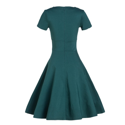 Women Vintage Dress Summer Elegant Short Sleeves 1950s Rockabilly Party Swing Dress Burgundy/Green