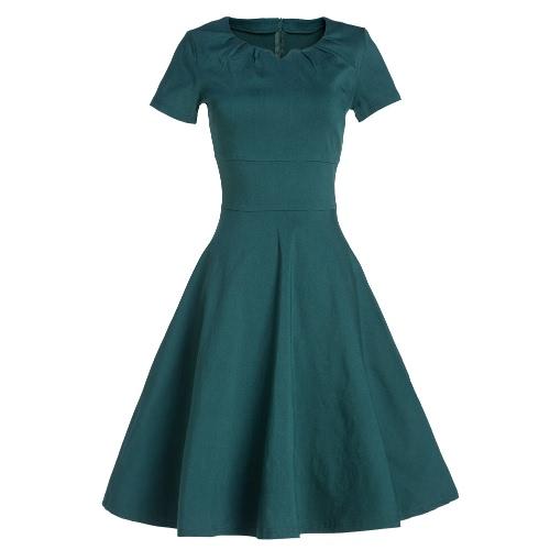 Vestido de las mujeres del verano de la vendimia del partido del Rockabilly 1950 mangas elegante swing corto vestido de Borgoña / verde