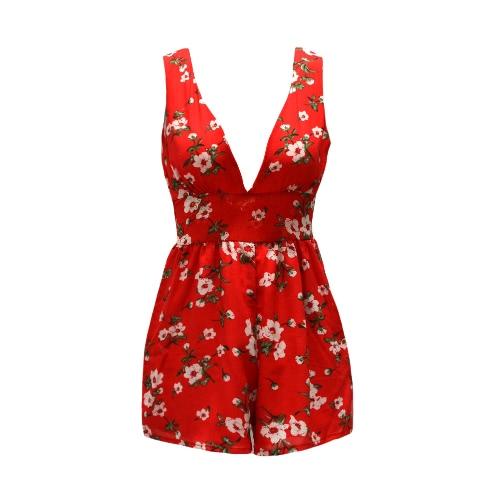 Sexy Mulheres Chiffon Macacão Boho curtas macacãozinho Floral V-Neck Tie V-Back mangas Casual Playsuit Red