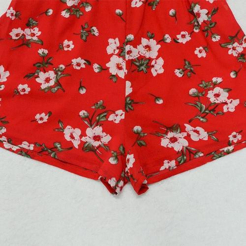 Сексуальные женщины шифон комбинезон BOHO Короткие Rompers Цветочный V-образным вырезом Tie V-Back рукавов Повседневный костюм для подвижных игр Red фото