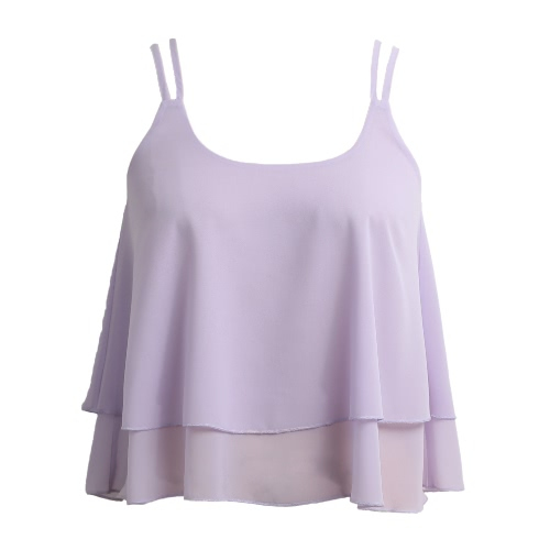 Women Sleeveless Chiffon Top Plunge Neck Dual Spaghetti Strap Double Layer Draped Casual Top