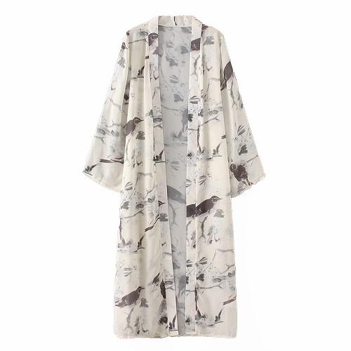 Las mujeres más el tamaño de la impresión floral del kimono Bird Beach orientales de la vendimia larga delantera abierta delgada Cover Up Cardigan Beige