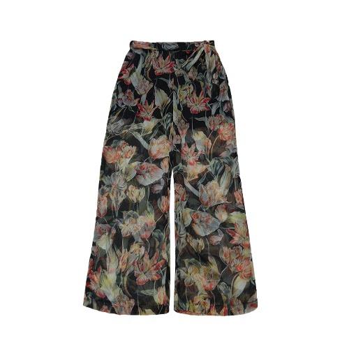 New Fashion Mulheres chiffon larga perna da calça floral impressão soltas Fino Belted Calças Beachwear calças compridas Branco / Preto