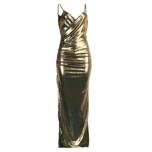 Sexy Frauen-Verband Maxi-Kleid mit V-Ausschnitt verstellbaren Riemen-Schenkel Hohe Split Clubwear Partei-Kleid-Silber / Gold