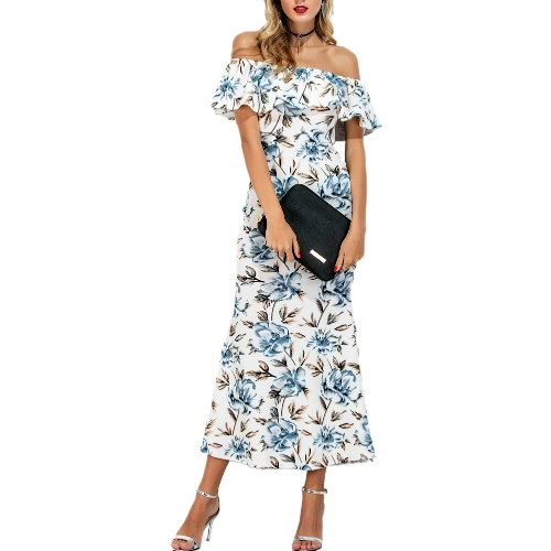 New Fashion Mulheres Floral Print Dress Mermaid Corte Neck Ruffle Dividir Hem vestido longo branco