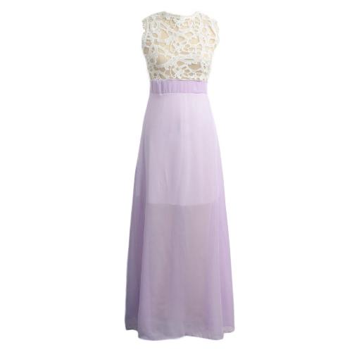 Atractivo de las mujeres vestido largo maxi de encaje de malla transparente Empalme sin mangas de la cremallera de noche elegante del partido del vestido beige / azul / púrpura