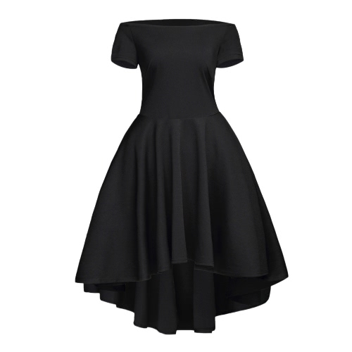 New Fashion Women Off vestido de ombro Corte Neck Irregular hem Festa A-Line Vestido