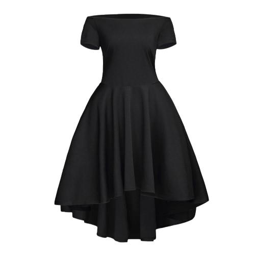 Vestido del hombro nueva manera de las mujeres fuera de la raya vertical del cuello dobladillo irregular del partido una línea de vestido