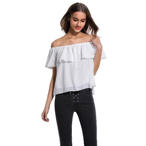 Las mujeres elegantes tops color sólido del hombro elástico raya vertical cuello de la colmena de superposición partido flojo de Clubwear Blanca