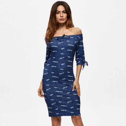 Nuevo vestido de las mujeres del dril de algodón fuera del hombro del lazo de la correa de la raya vertical del cuello bodycon vestido ocasional azul
