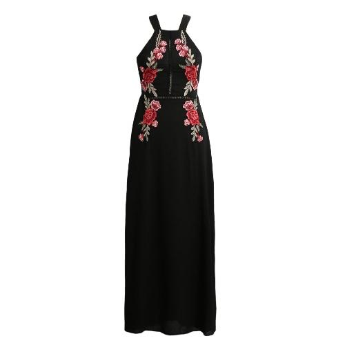 Vestido atractivo del verano del cabestro sin respaldo Mujeres floral de la playa de Split elegante largo del vestido maxi Negro