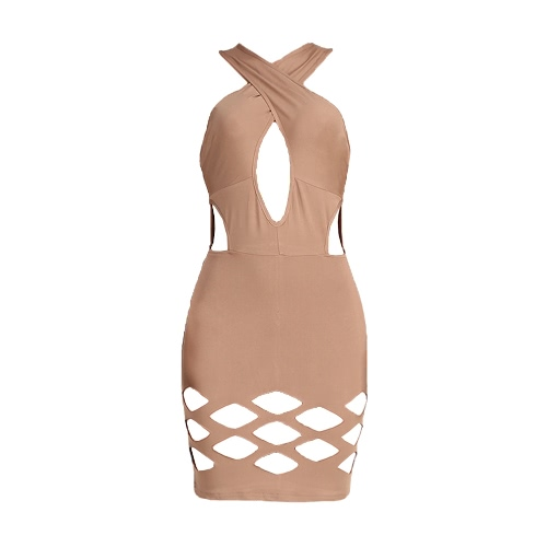 New Sexy Women Bodycon Dress Cross Bandage Neck Hollow Out Sleeveless Solid Party Clubwear Mini Dress