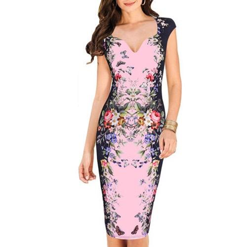 Nuevo de las mujeres vestido de Midi flora de impresión con cuello en V manga corta de la cremallera de la vendimia delgada ocasional vestido blanco / rosa / azul
