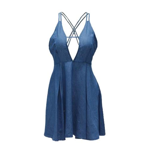 Moda profundo cuello en V vestido sin mangas sin respaldo Cruz Cordón Beach dril de algodón azul de mini vestido de cóctel