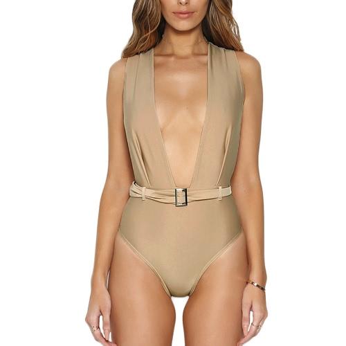 Sexy Mulheres Bodycon Jumpsuit Sólidos Backless profundo decote em V sem mangas Belt Casual Curto Playsuit macacão bege / preto