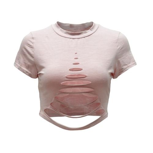 Las mujeres atractivas rasgaron los agujeros Crop Top ahueca hacia fuera la camiseta de manga corta camisa de la tapa recortada Negro / blanco / rosa