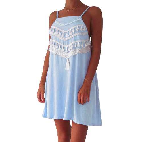 Casual allentato A-Line Dress Beach Nuova estate delle donne del mini vestito della nappa Strap Backless