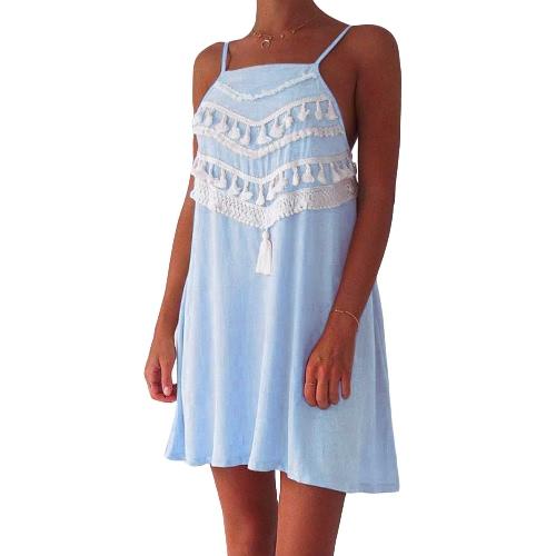 Las nuevas mujeres de playa del verano del mini vestido de la borla de la correa floja ocasional sin respaldo una línea de vestidos