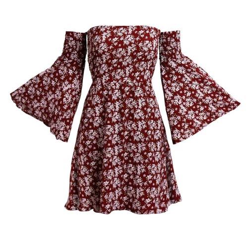 Sexy Frauen-Minikleid mit Blumenmuster weg von der Schulter Backless Flare Ärmel elegante beiläufige A-Line Kleid Burgund