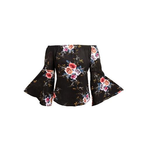 Frauen weg von der Schulter Top-Blumendruck Elastic Slash-Ausschnitt Aufflackern-Hülsen-Asymmetrische Bluse zufällige Spitze