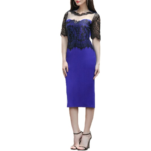Women Dress Embroidery Floral See Through Lace Party Evening Bridemaid Mother bodycon Party Dress