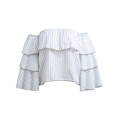Nowe mody Kobiety paski bluzka Off Shoulder Ruffled długim rękawem Lato Luźna Tops Koszulka Biały