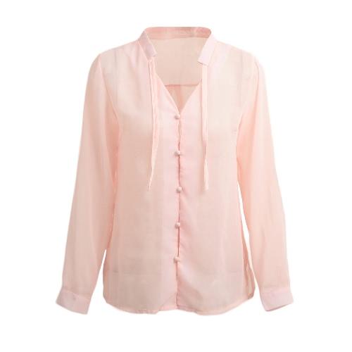 Las mujeres escarpada atractiva blusa de la gasa delgada solo pecho sólido con cuello en V manga larga casual elegante top de la camisa rosa