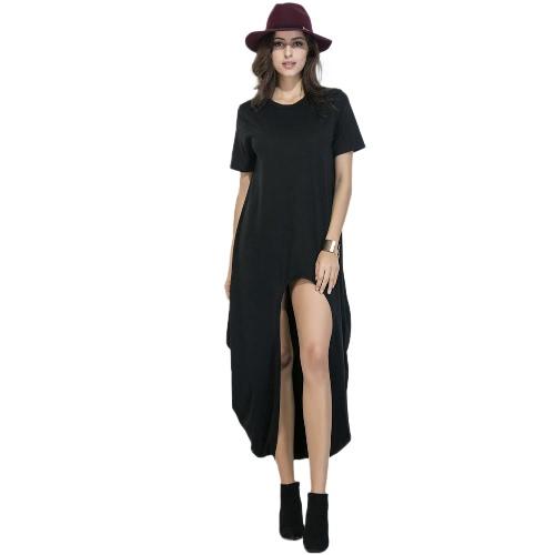 Neue reizvolle Frauen loses Kleid Fest O-Ansatz mit kurzen Ärmeln Split Hem beiläufiges Kleid Schwarz