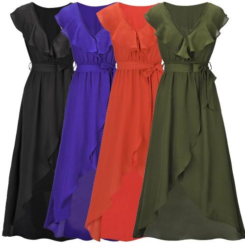 Mulheres Sexy Vestido V profundo Neck Elastic cintura alta Asymmetric Ruffle Hem Maxi vestido longo de festas elegante Wear