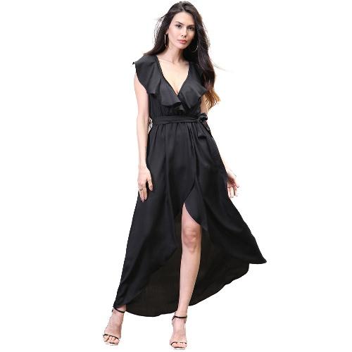 Vestido de las mujeres del V cuello elástico de cintura alta asimétrico dobladillo de la colmena maxi vestido largo elegante de la fiesta de desgaste
